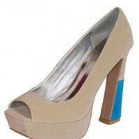 TAUPE SEXY PEEP TOE PUMP @ KiwiLook fashion