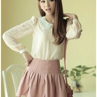 Women Pink Fresh Round Neck Long Sleeve Chiffon Top S/M/L@MF9810p