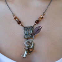 Skeleton Key Necklace With Key Hole and Bird Charm