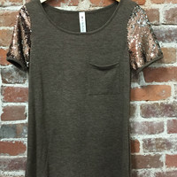 Sparkle Brighter Top - BROWN /