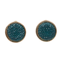 Teal Textured Crystal Post Earring Set