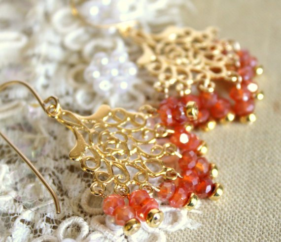 Chandelier Carnelian earrings - 14k Gold fild earrings with real orange Carnelian gemstone