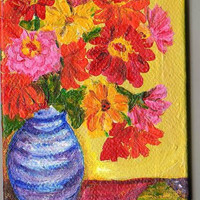 Flowers Still Life on quilt  Original  mini painting on Canvas with Easel