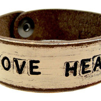 Off White wash LOVE HEALS  Petite Cuff