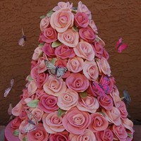 Rose tower cake by modthyrth on Cake Central