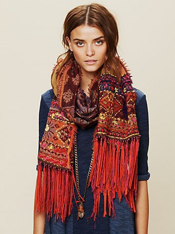 Free People Leather Fringe Scarf
