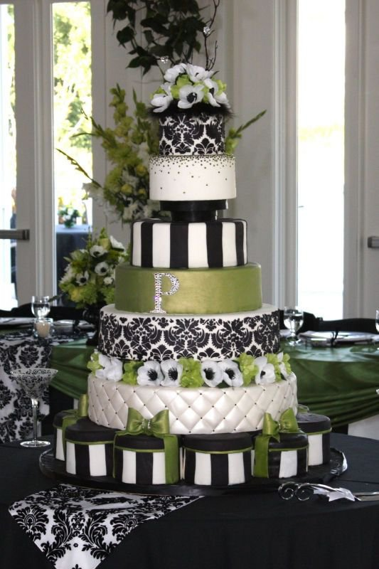 Green Black and White Damask Wedding Cake by CAKE_goodness on Cake Central