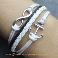 infinity karma bracelet wish bracelet silvey anchor bracelet lover bracelet gift for friend lover girlfriend-N574