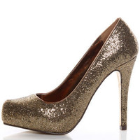 Mixx Laura 01N Gold Glitter Hidden Platform Party Pumps - $37.00