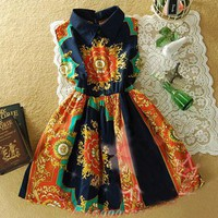IT Girl Dress. Ethnic Print Luxe Print Navy Orange Sleeveless Dress