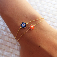 Mother and daughter bracelets, Neon evil eye bracelets - evil eye jewelry, mother birthday gift, mommy, neon friendship bracelets,