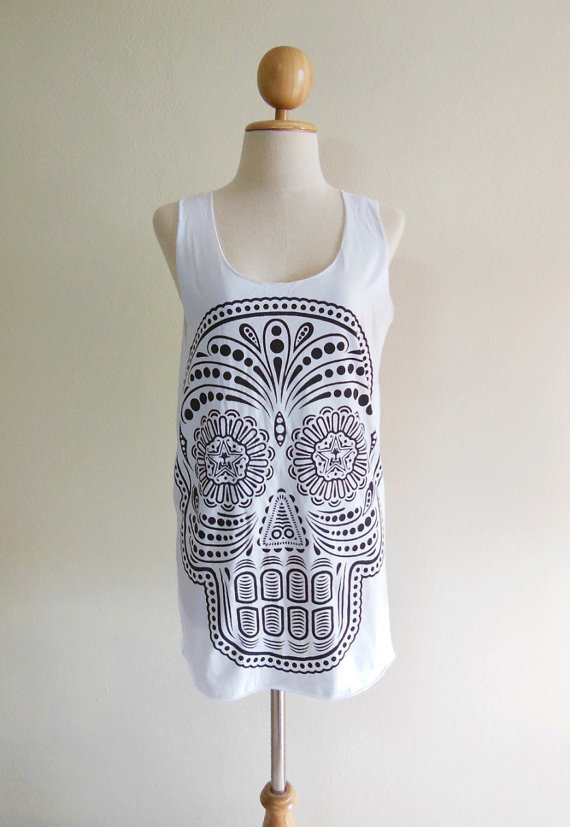 Skull Shirt Day Of The Dead Art Skull -- Skull Design Art Women Tank Top Skull Tunic Sleeveless Skull T-Shirt White T-Shirt Size M