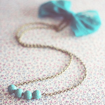 Turquoise beads and lace bow necklace.Turquoise pendant.Double necklace