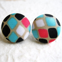 Fabric Button Earrings - Multicoloured Earrings, Retro Fabric Earrings, Retro Earrings, Pink and Turquoise Earrings, Pink and White Earrings