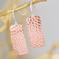 SALE Copper Hammered Earrings - Copper Rectangle Earrings - Dangle Earrings - Copper Jewelry - Hammered Texture