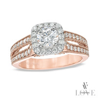 Vera Wang LOVE Collection 1-1/5 CT. T.W. Diamond Split Shank Engagement Ring in 14K Rose Gold