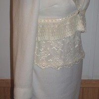 Winter White Ivory Fleece and Lace Dress with Pleated Lace Shrug