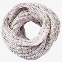 CHUNKY MARLED KNIT INFINITY SCARF - SILVER from EXPRESS