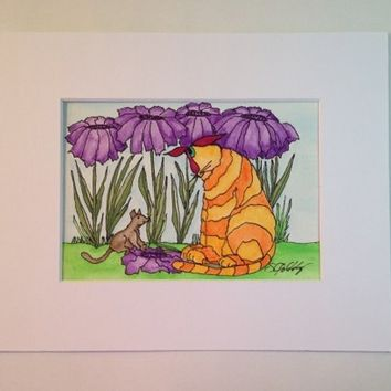 Cat, Painting with Mouse and Purple African Daisies, Watercolor