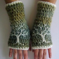 Arm Warmers with Tree Design - Green, Blue, Cream - Fingerless gloves chunky warm embroidered - Ready to Ship