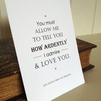 Pride and Prejudice Postcard with Jane Austen Typography Quote