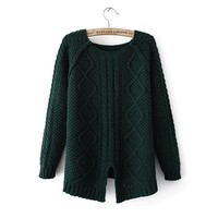 MagicPieces Woman's Geometric Pattern Round Neck Sweater with Cut Out Detail