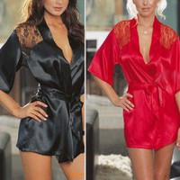 Discount China china wholesale Luxury Sexy Lingerie Lace Satin Brocade Sexy Chemise Ladies Nightwear Jumpsuits S M L [20419] - US$9.99 : Bluelans