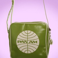 Vintage Style Pan Am Messenger Bag in Green | Pinup Girl Clothing