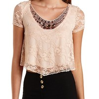 Jeweled Lace Crop Top by Charlotte Russe - Blush