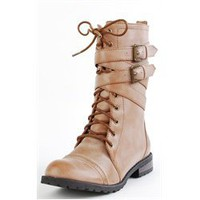 Tina02 Ankle Wrap Combat Boots CAMEL