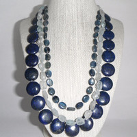 Lapis, Aquamarine and Kyanite Necklace Blue Green Marine Aqua Triple Stunning Gift fashion under 70