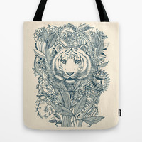 Tiger Tangle Tote Bag by micklyn