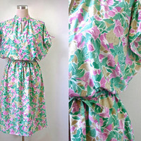 Marisa At Kitty Copeland Dress - Quality Vintage Day Dress - 1970's Floral Dress - Pretty Pink And Green Midi Dress - Large