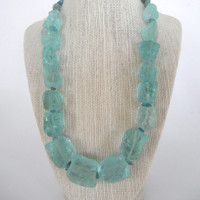 Blue Green Aqua Rough Quartz Nugget with Apatite Chip Necklace Frosty Matte Ice Silver gift fashion under 60