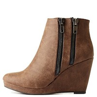 City Classified Double Zipper Wedge Booties - Taupe