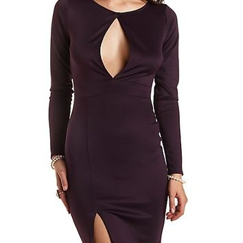 Scuba Bodycon Dress with Cut-Out by Charlotte Russe - Eggplant