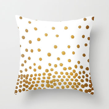 Gold Bubbles Throw Pillow by Tangerine-Tane