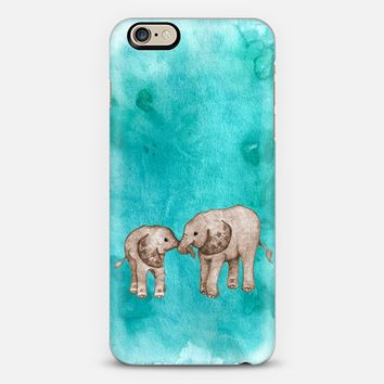 Baby Elephant Love - Sepia on Teal Watercolor iPhone 6 case by Perrin Le Feuvre | Casetify