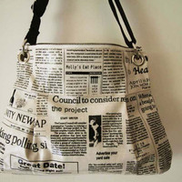 2 way Hobo bag  with shoulder strap-newspaper