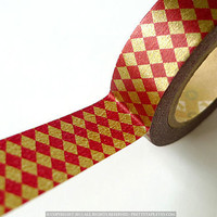 Japanese Washi Masking Tape RED Gold DIAMOND by PrettyTape