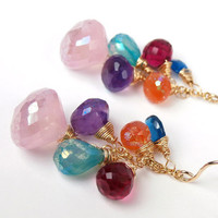Multicolor Gemstone Wire Wrapped Gold Filled Colorful Dangle Earrings Lavender Beaded Summer Fashion under 100