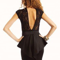 Open Back Lace Peplum Dress