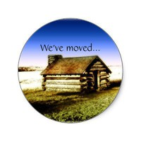 We've Moved Old Log Cabin Sticker from Zazzle.com