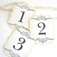 White - Elegant - Scrolls - Vintage Inspired - Wedding - Table Number Cards - Made to Order