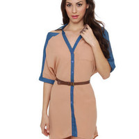 Cute Blush Dress - Chambray Dress - Cutout Dress - $49.00