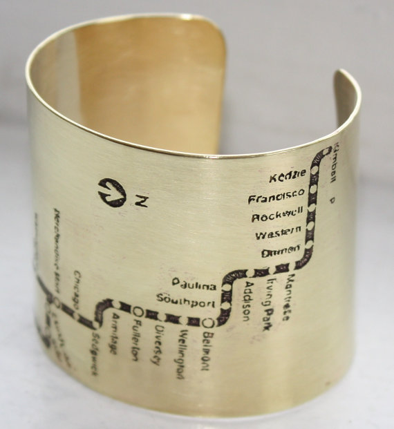 Chicago Subway CTA Brown Line Cuff - Brass
