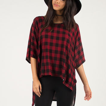 Oversized Checkered Stretchy Tee - Dark Red / One