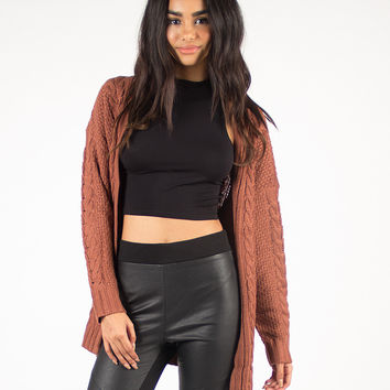 Cable Knit Oversized Open Cardigan - Copper /