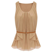Flouncing Detail Apricot Vest [NCSHX0045] - $61.99 :