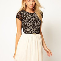 Oasis Lace Leaf Skater Dress at asos.com